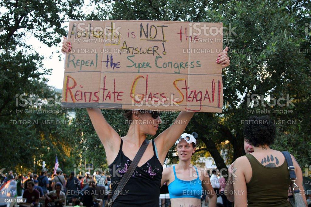 Occupy Austin, Oct. 6, 2011 stock photo
