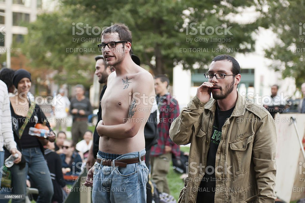 Occupy DC Protestors Using The Human Mic stock photo