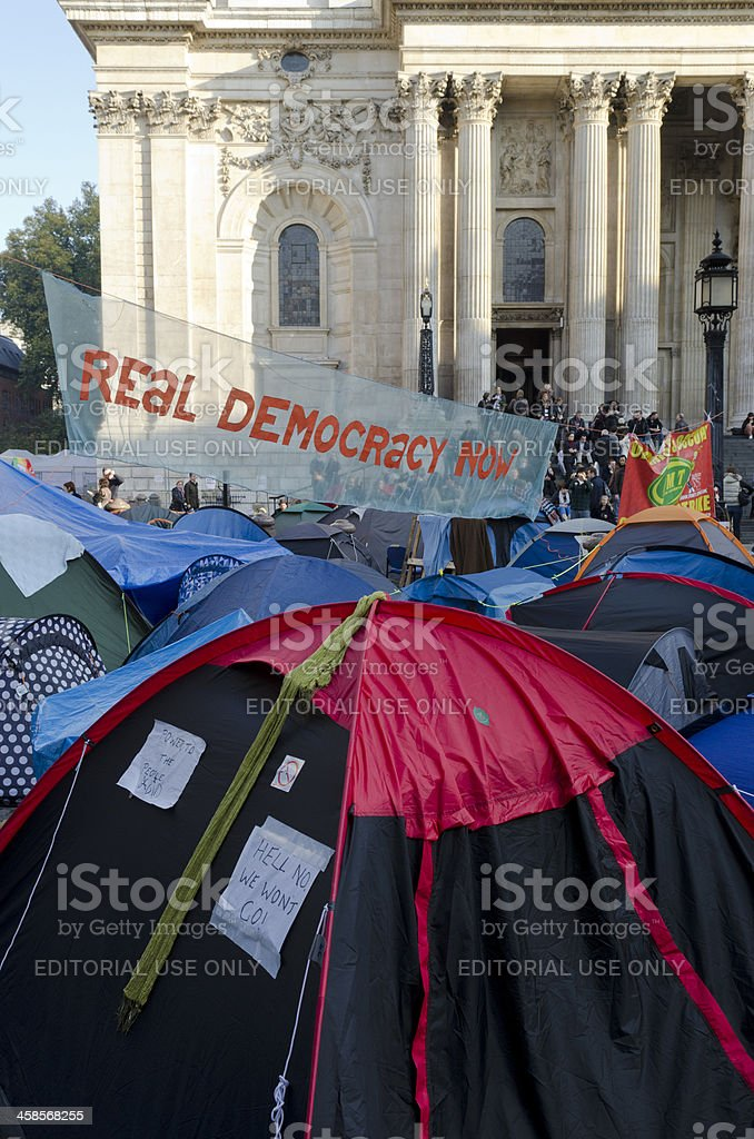 Occupy London camp outside the entrance to St Paul's Cathedral royalty-free stock photo