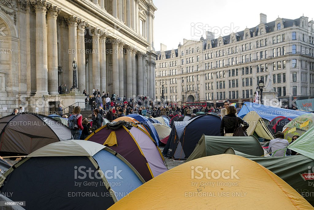 Occupy London protest tents, St Paul's Cathedral royalty-free stock photo