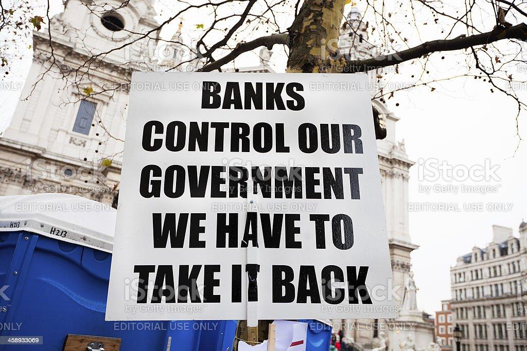 Occupy London Stock Exchange sign stock photo
