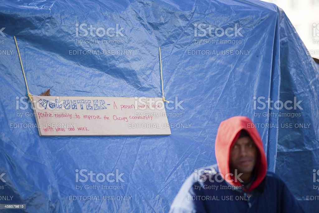 Occupy Movement - Volunteer royalty-free stock photo
