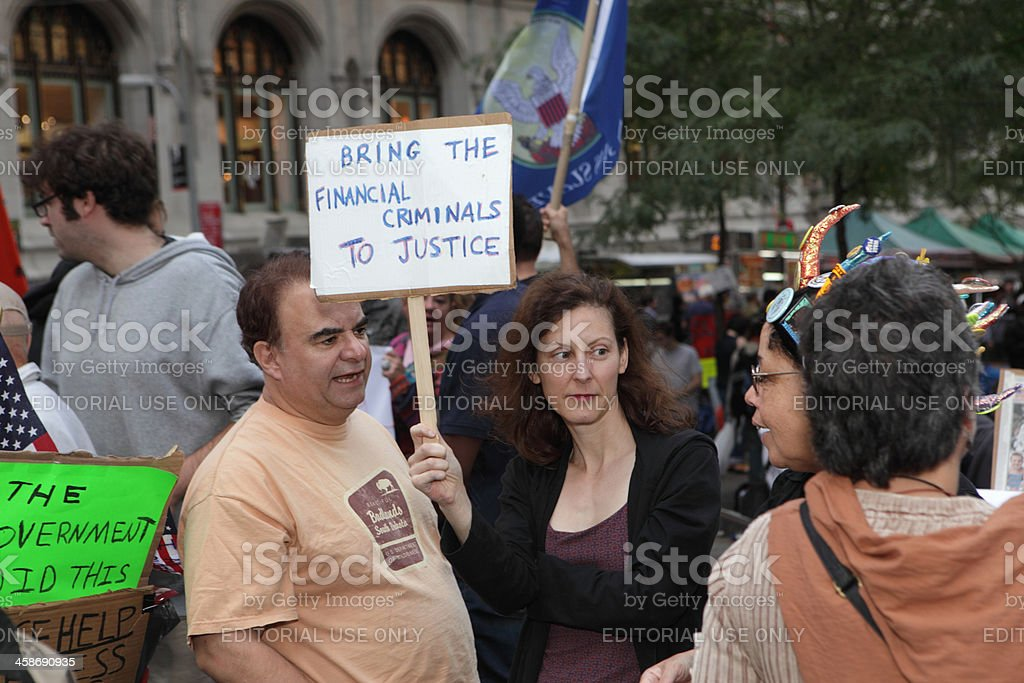 Occupy Wall Street protestors in NYC Financial Criminals stock photo