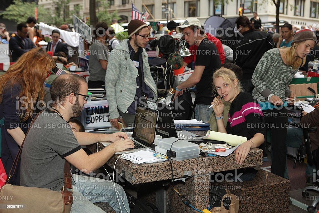Occupy Wall Street social media and press relations royalty-free stock photo
