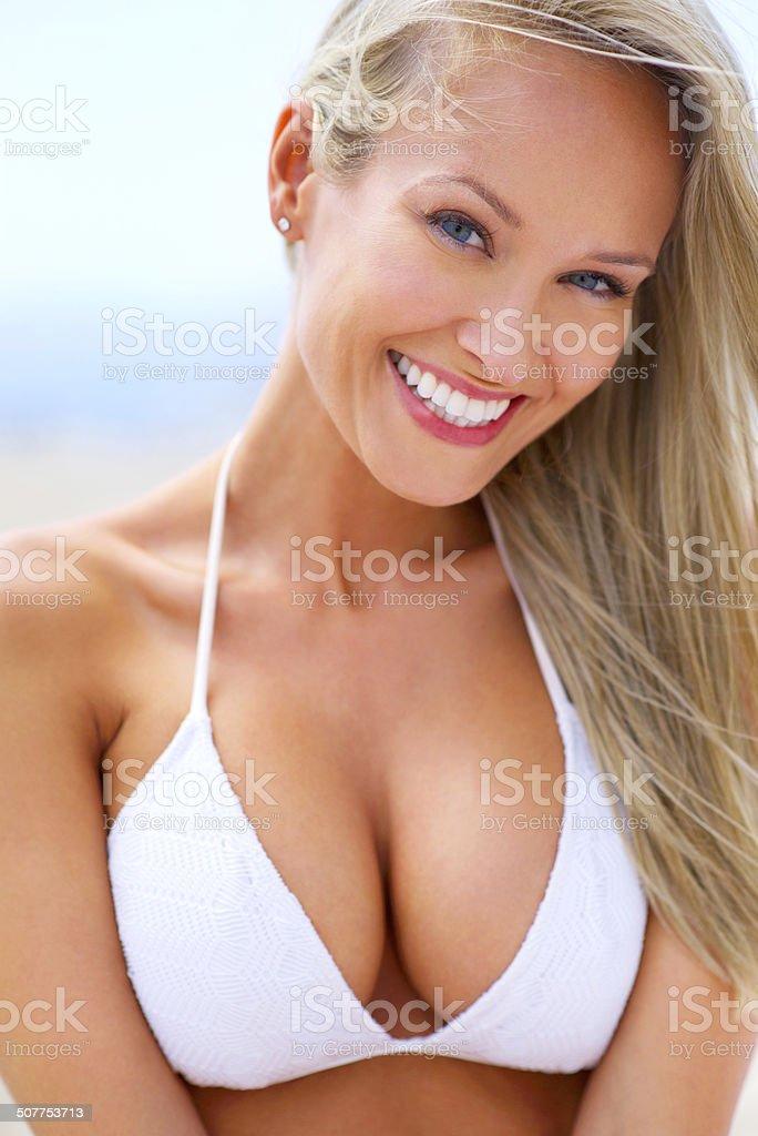Ocean air and salty hair stock photo