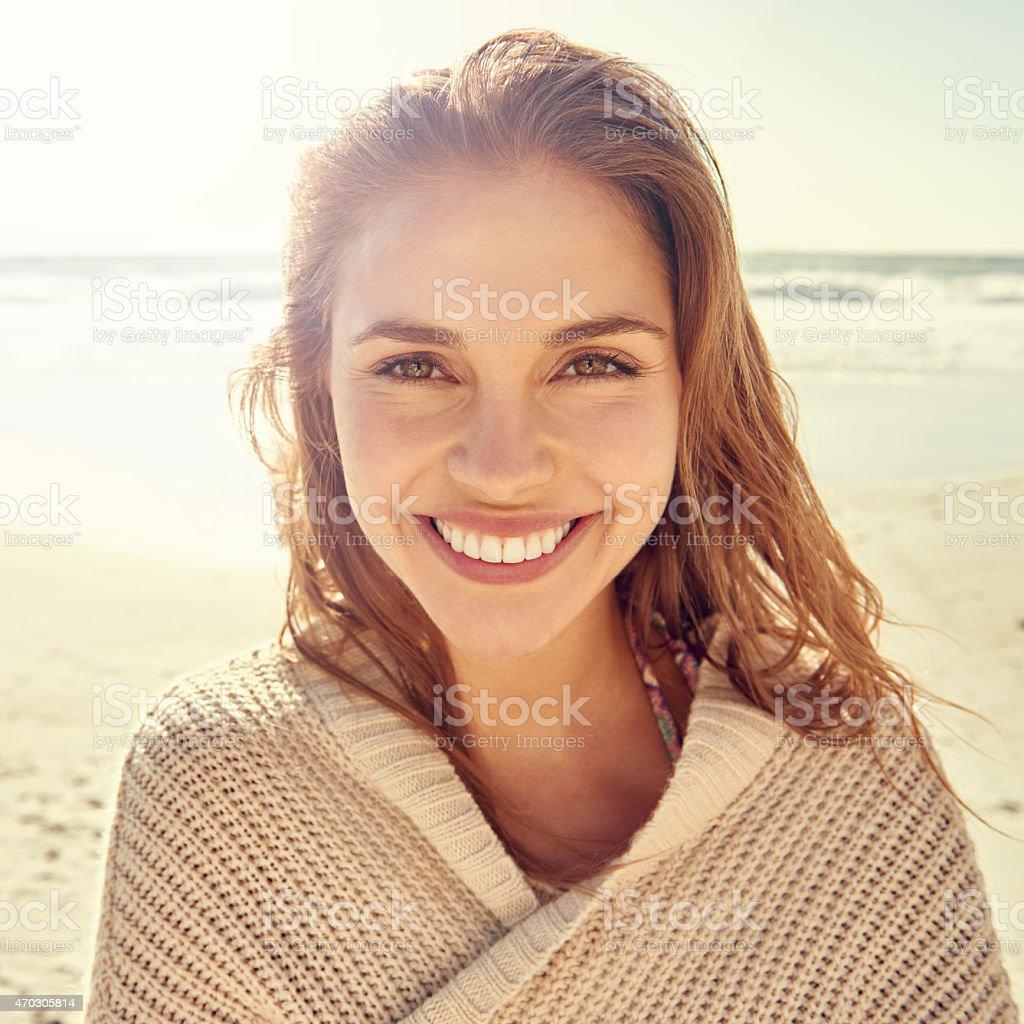 Ocean air, salty hair... I love the beach! stock photo