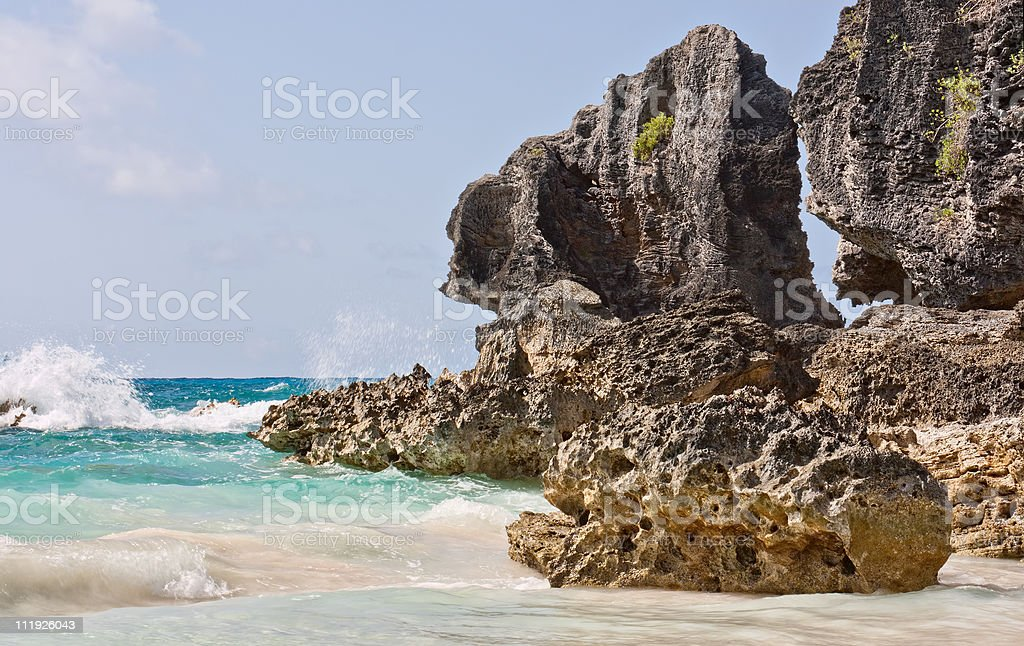 Ocean and Boulders stock photo