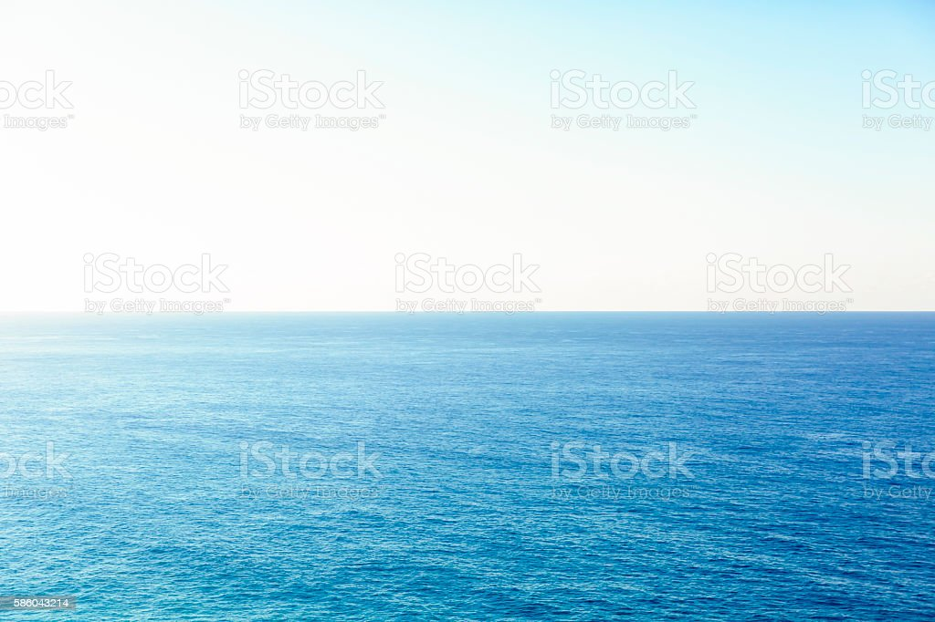Ocean and clear sky, beautiful nature background with copy space stock photo