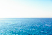 Ocean and clear sky, beautiful nature background with copy space