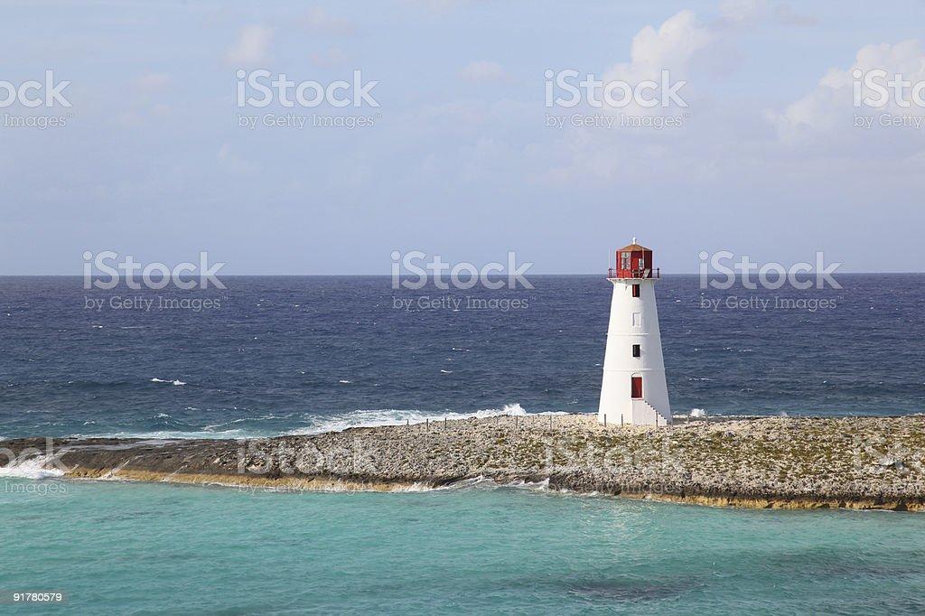 Ocean and lighthouse, Nassau, Bahamas royalty-free stock photo