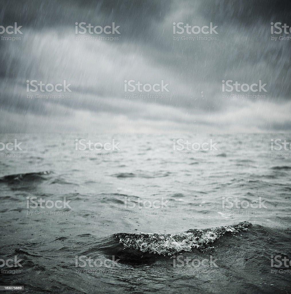 ocean and rain royalty-free stock photo