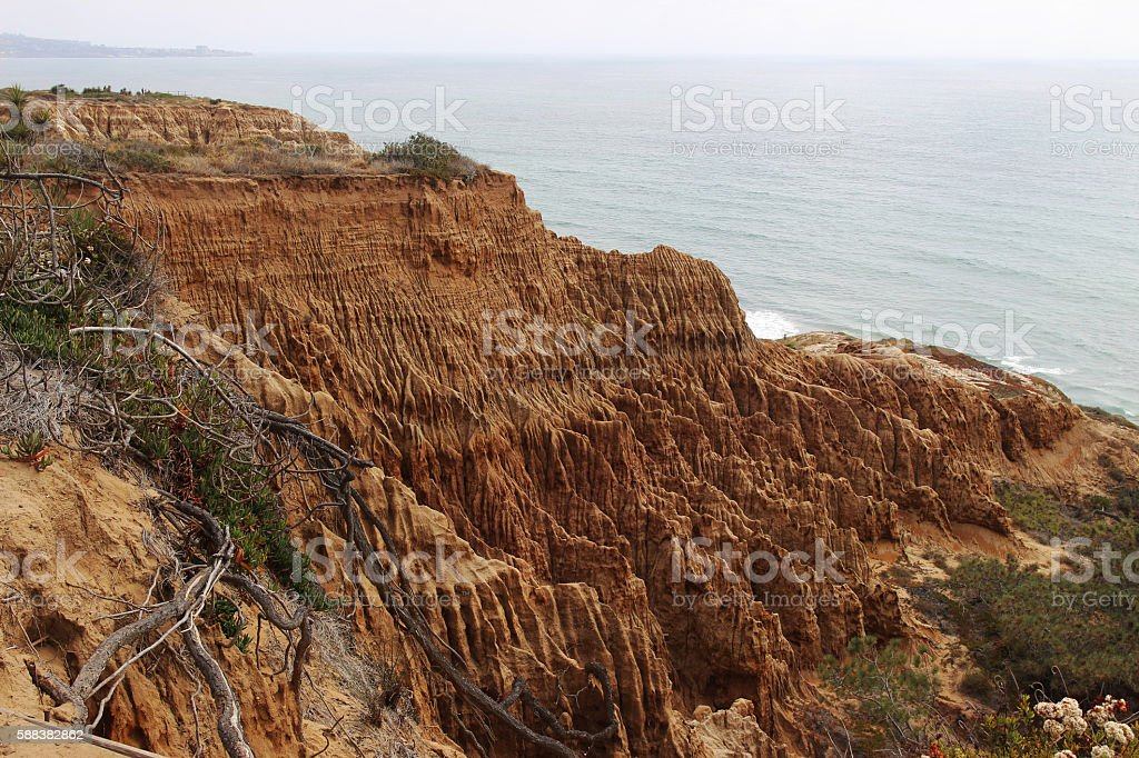 Ocean and sandstone cliff view stock photo