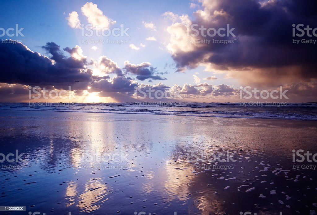 Ocean and sunset royalty-free stock photo
