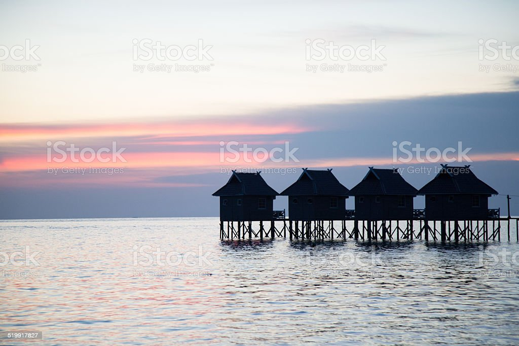 Ocean and sunset. stock photo