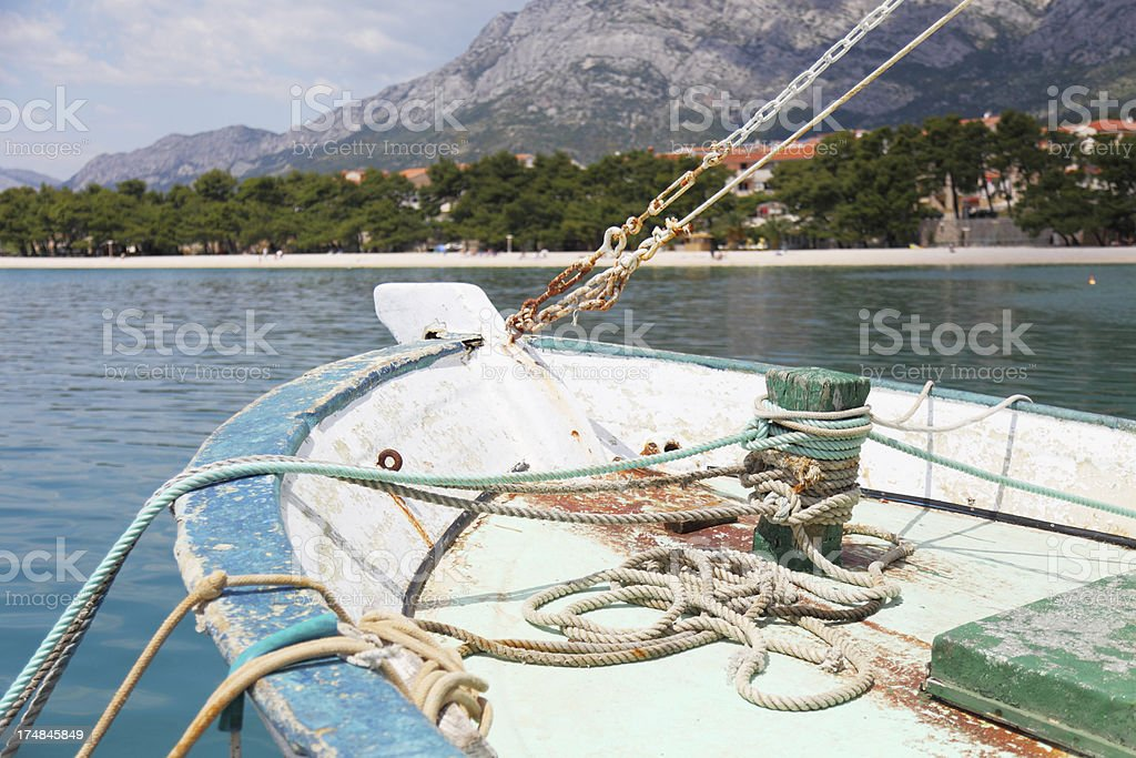 ocean bay and colourful mooring ship  bollard with  ropes  Croatia royalty-free stock photo