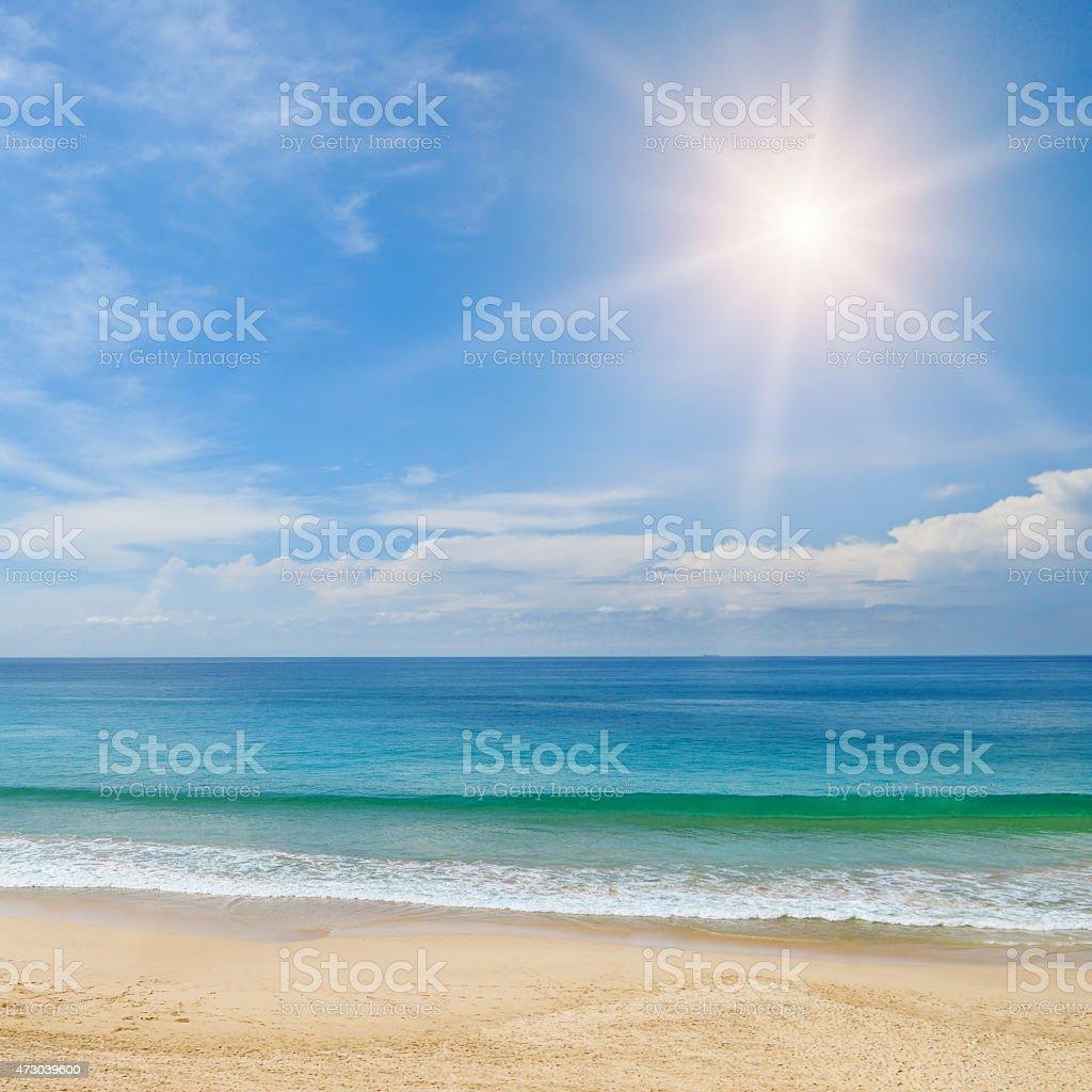 ocean,  beach and blue sky stock photo