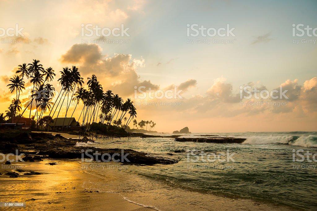Ocean beach at the morning stock photo