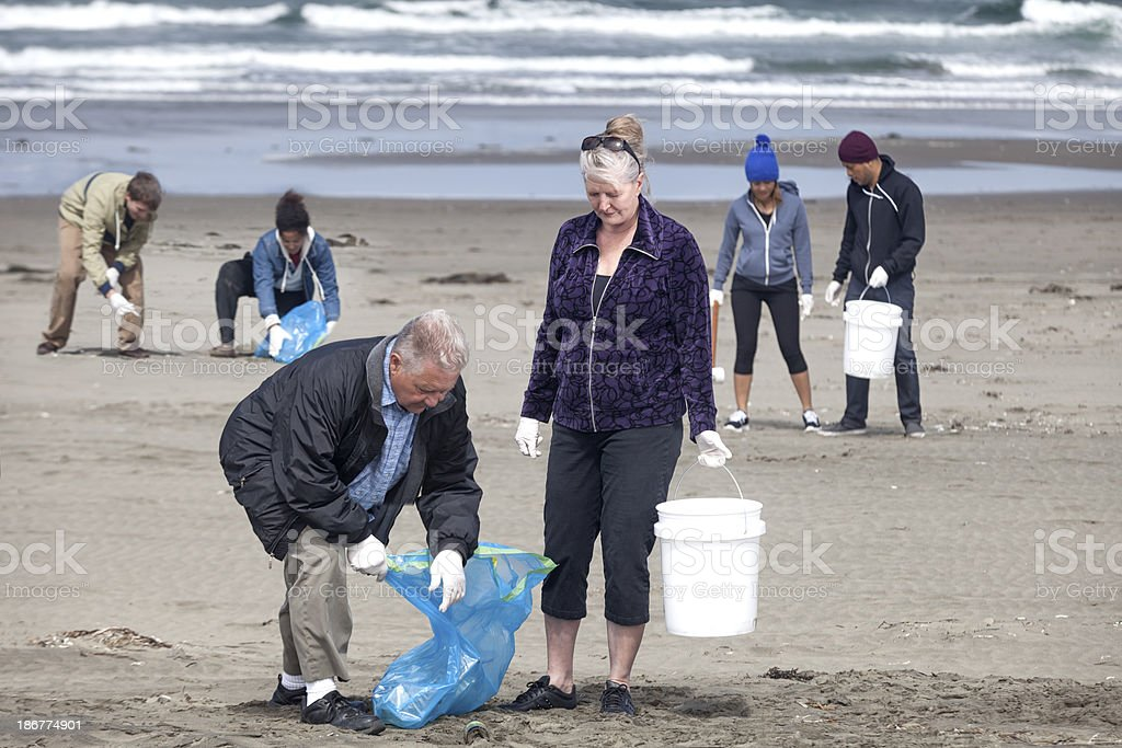 Ocean Beach Cleanup royalty-free stock photo