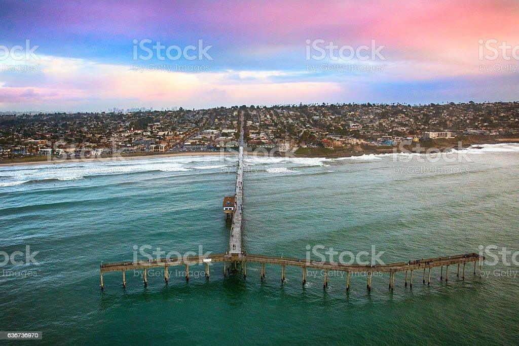 Ocean Beach San Diego Pier Aerial stock photo