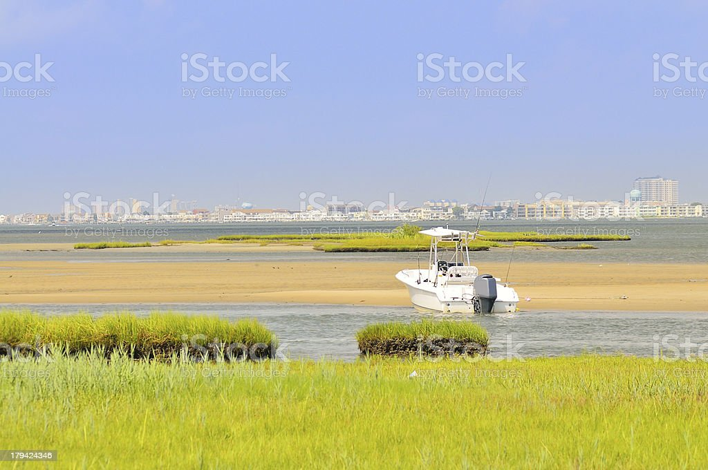Ocean City And Fishing Boat royalty-free stock photo