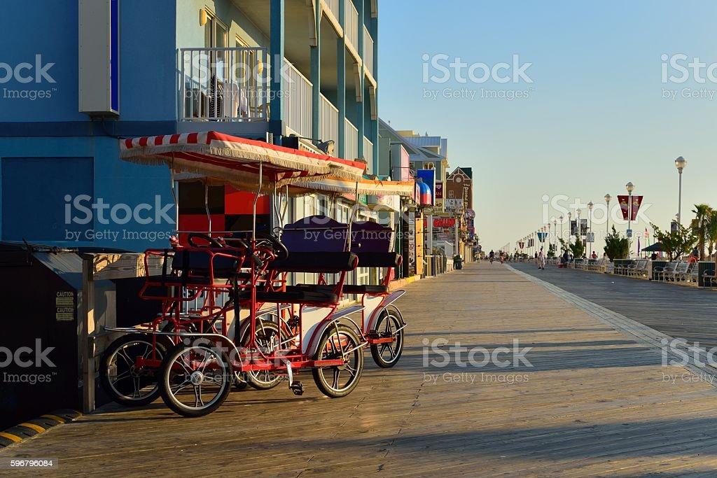 Ocean City Boardwalk Surreys and Shadows stock photo