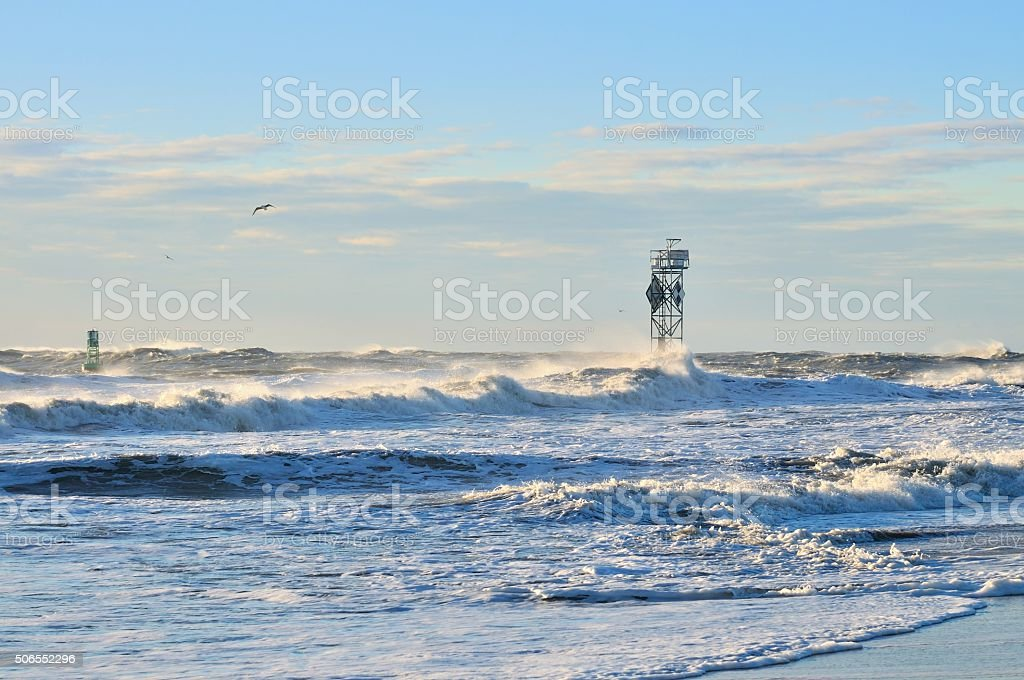 Ocean City Inlet Foghorn In Storm stock photo