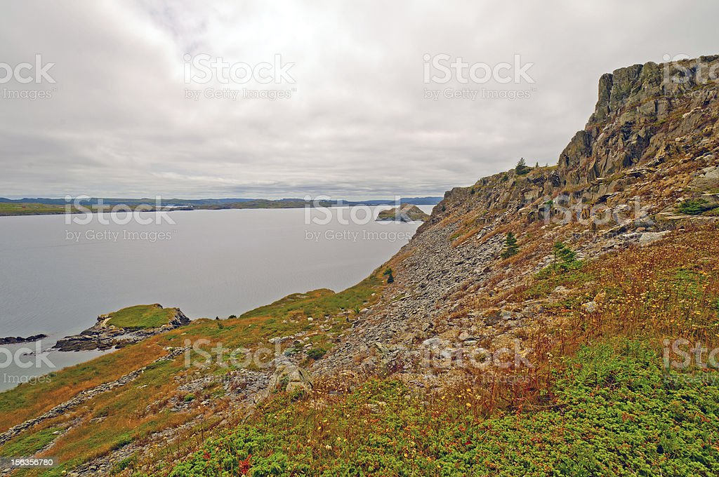 Ocean Cliffs on the Coast of Newfoundland royalty-free stock photo