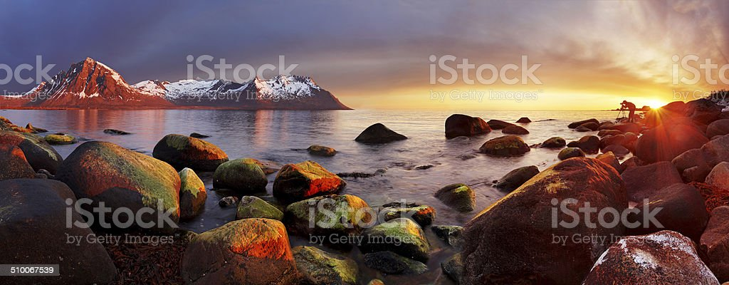 Ocean coast at sunset, panorama, Norway stock photo