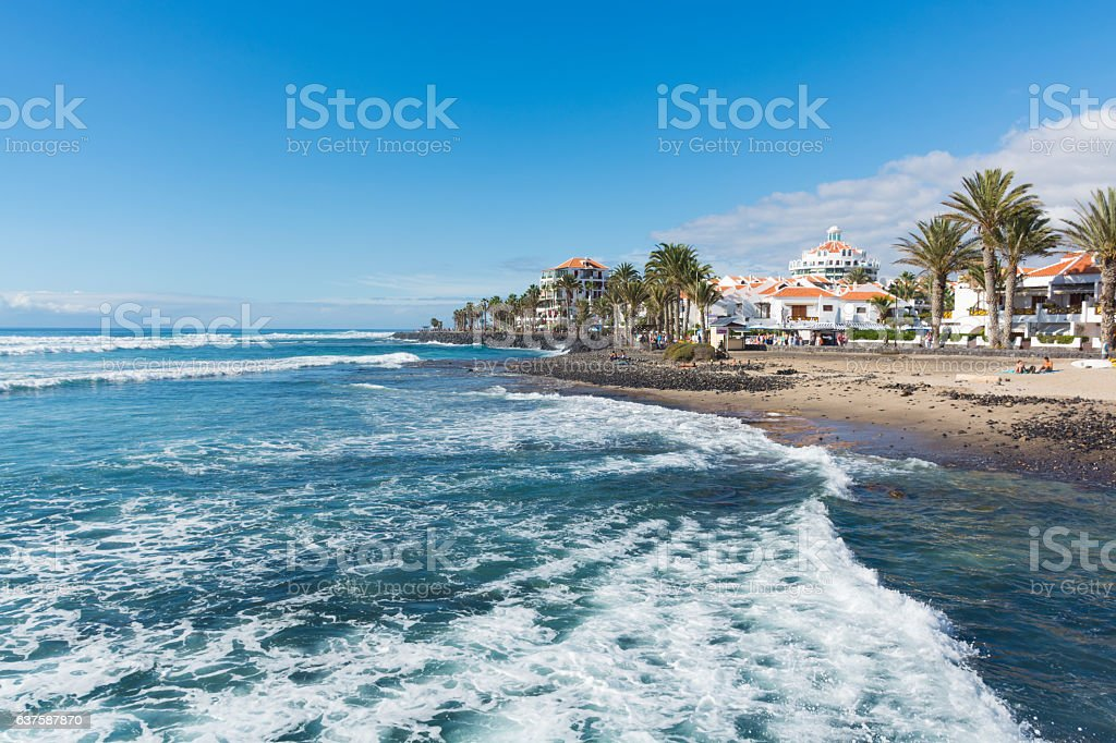 Ocean coast tourist resort Playa de las Americas, Tenerife stock photo