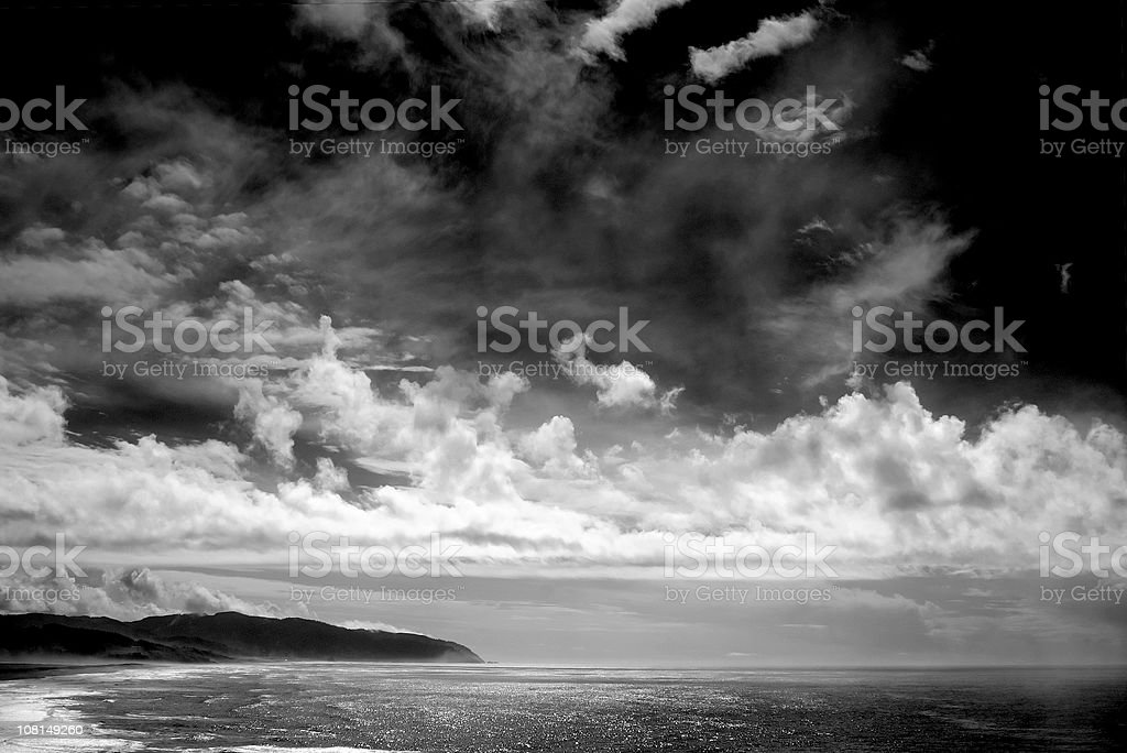 Ocean Coastline with Clouds, Black and White royalty-free stock photo