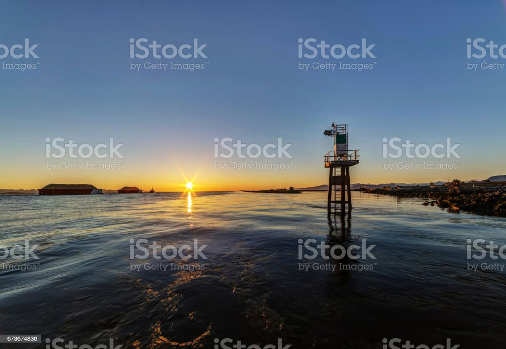 ocean cost at sunset stock photo