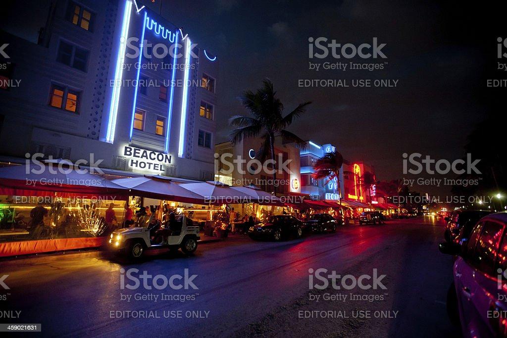 Ocean Drive at night, Miami Beach royalty-free stock photo