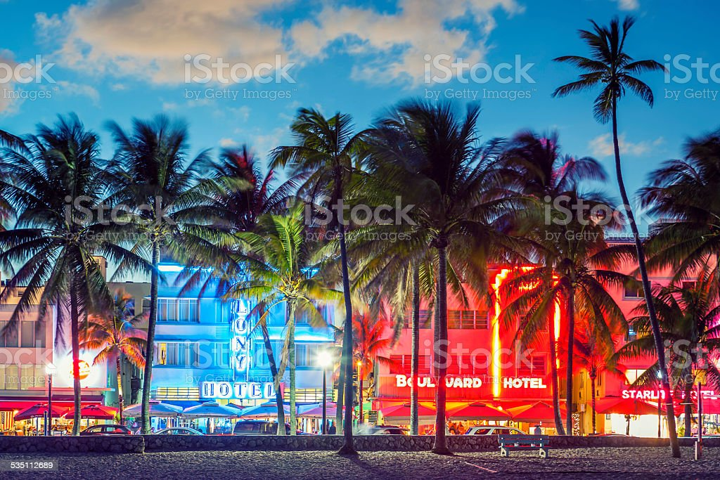 Ocean Drive at sunset stock photo