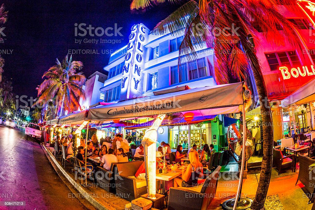 Ocean drive buildings in South beach by night royalty-free stock photo