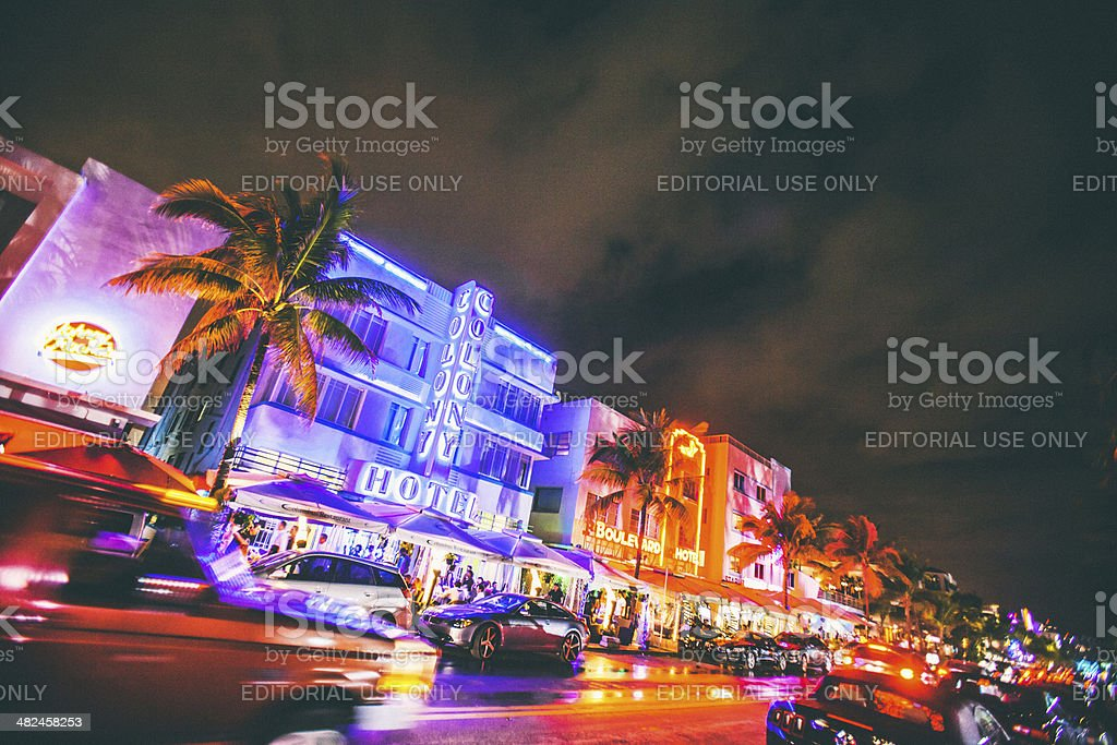 Ocean Drive by night. stock photo