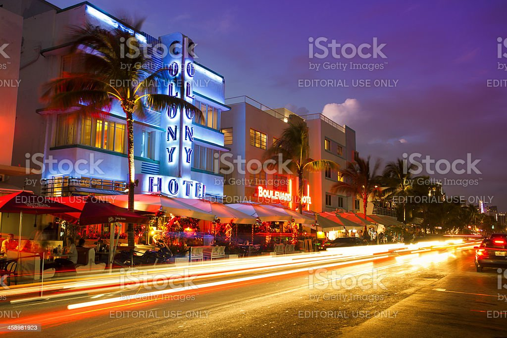 Ocean Drive in Miami at night stock photo