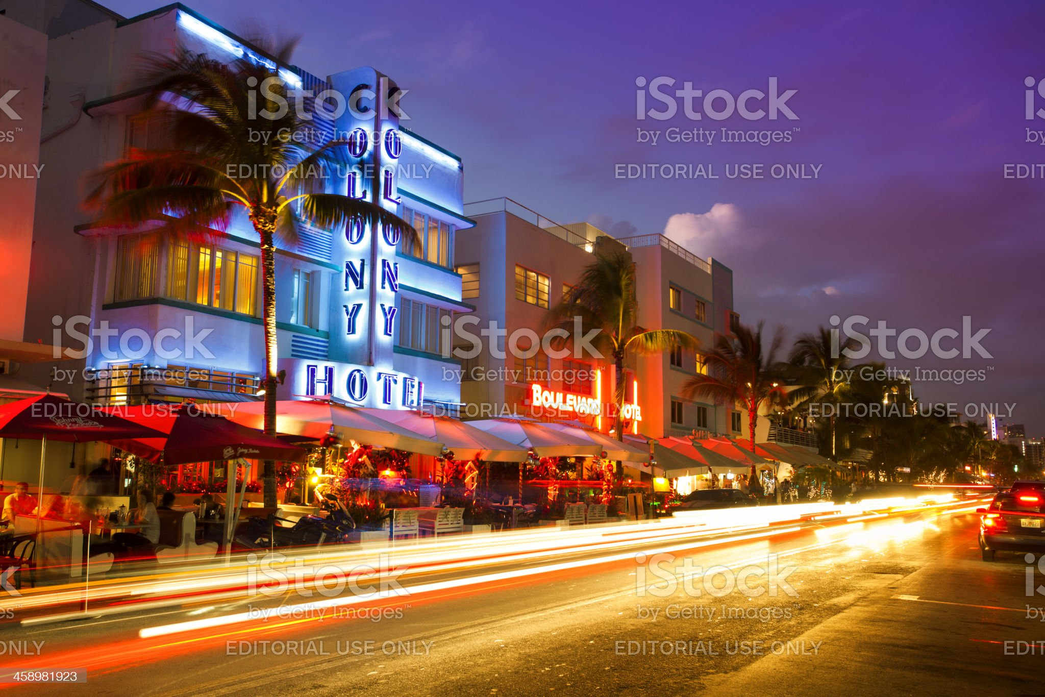 Ocean Drive in Miami at night royalty-free stock photo