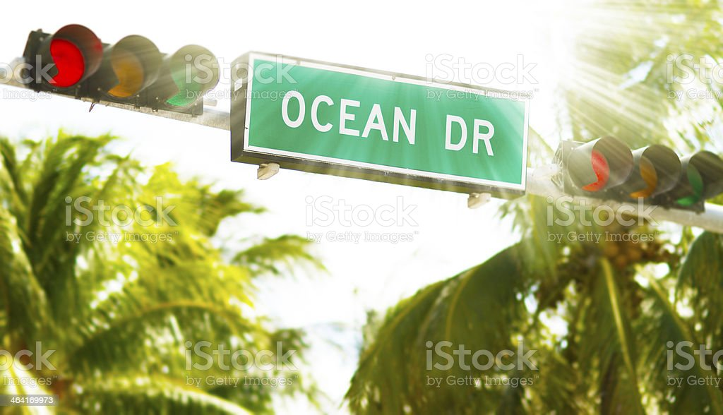 Ocean Drive Miami Street sign royalty-free stock photo