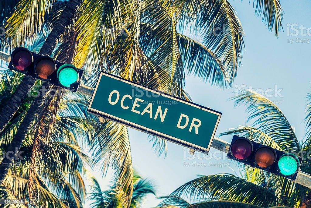 Ocean drive sign stock photo