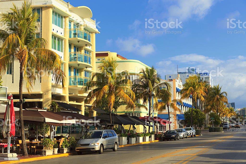 Ocean Drive street in South Beach, FL stock photo