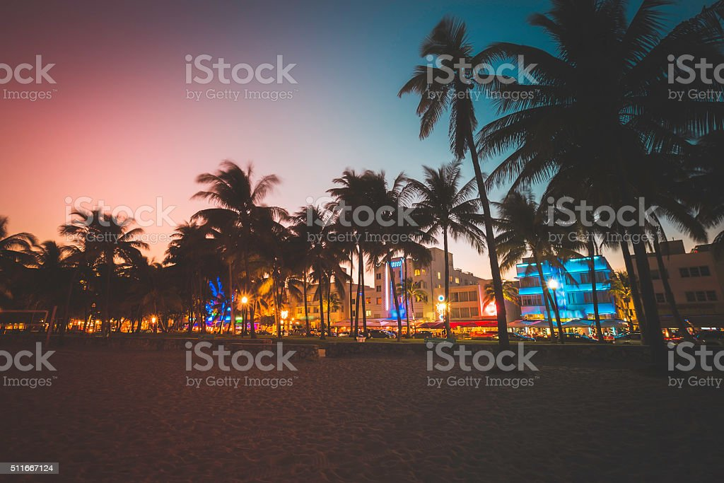 Ocean Drive street with illuminated buildings, South Beach stock photo