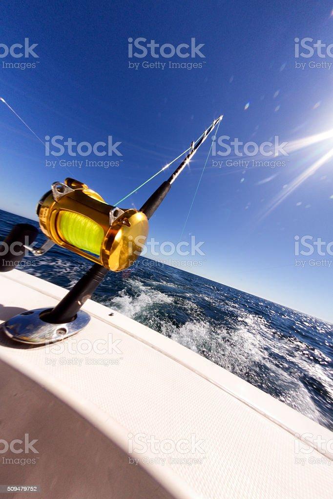 Ocean Fishing Reel on Boat at Sea stock photo