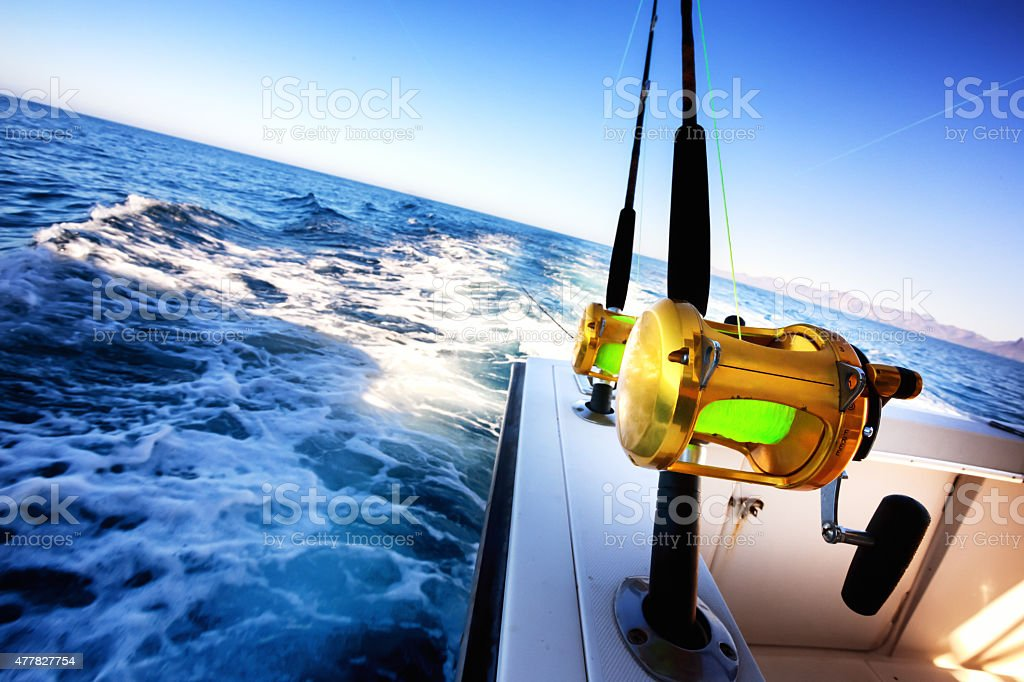 Ocean Fishing Reel on Boat stock photo
