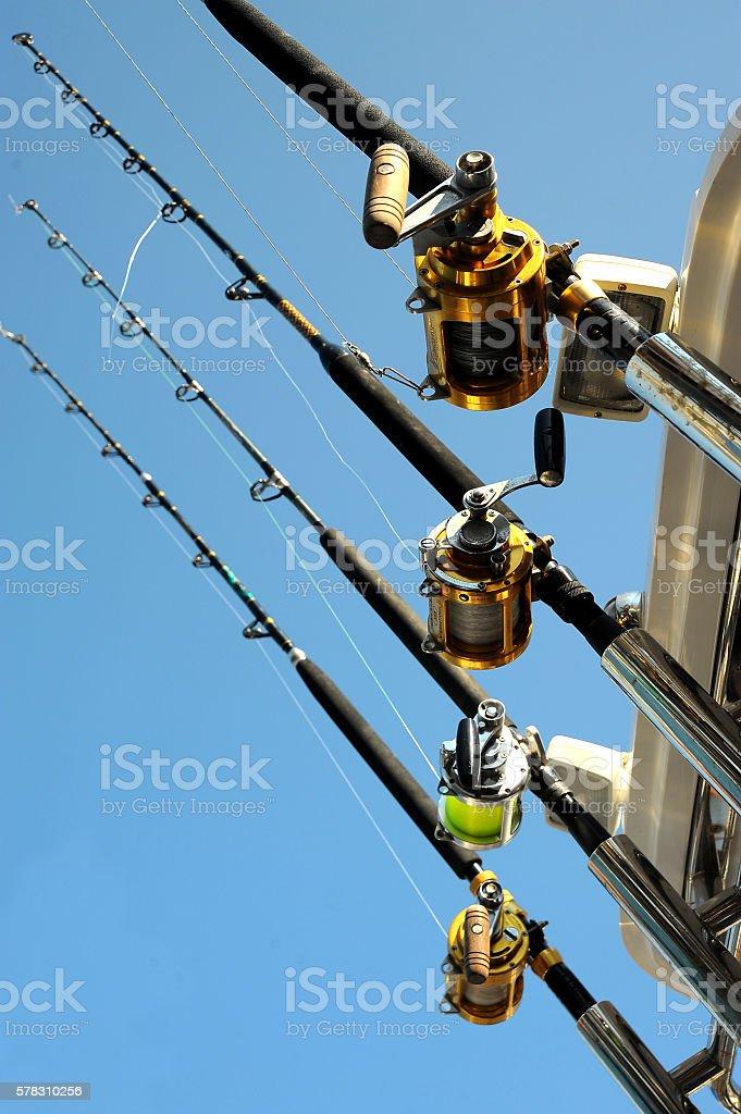 Ocean Fishing Reel on boat stock photo