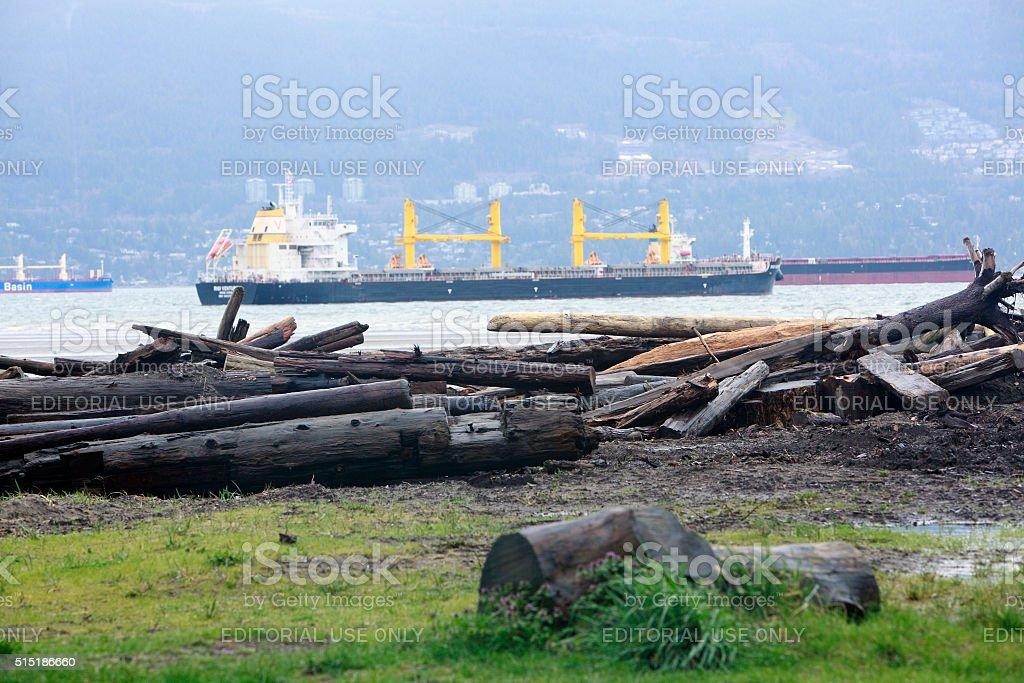 Ocean Freighters Burrard Inlet Vancouver British Columbia stock photo