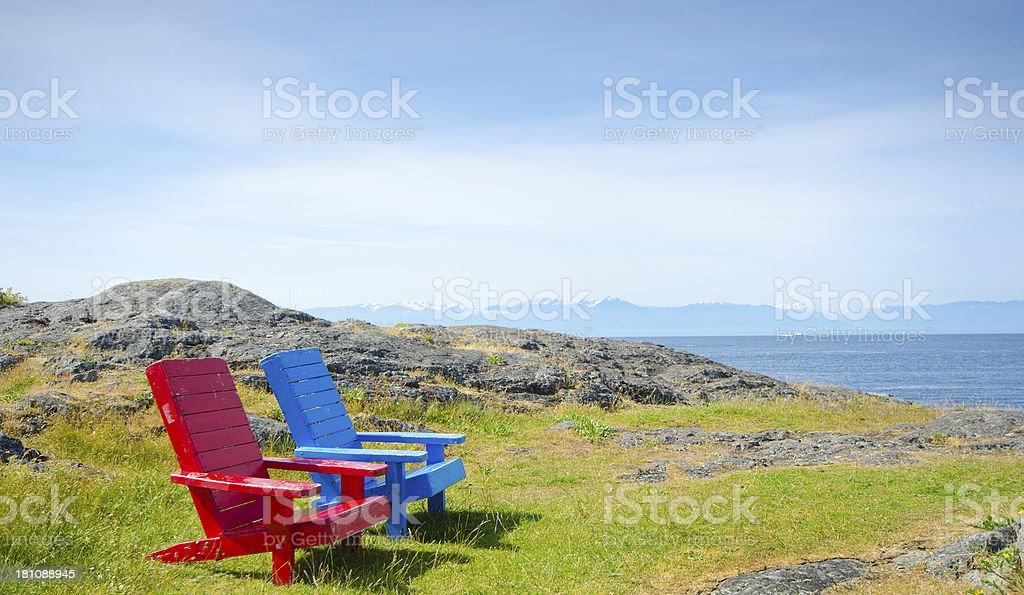 Ocean Front Adirondack Chairs, Victoria Canada stock photo