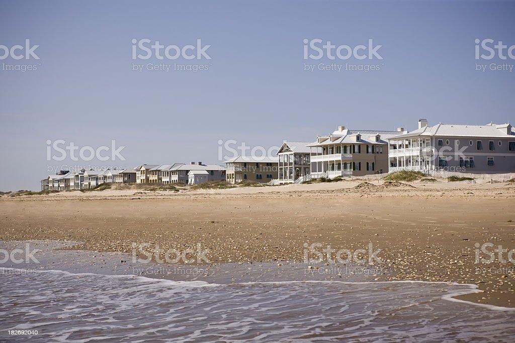 Ocean front beach houses stock photo
