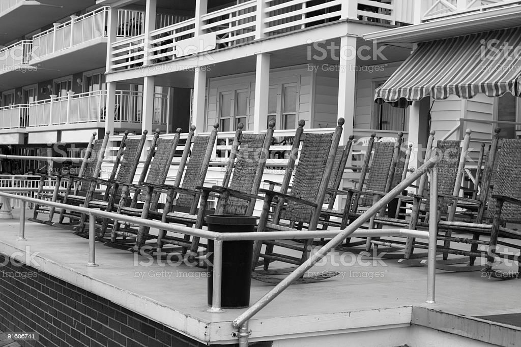 Ocean Front Rocking Chairs stock photo
