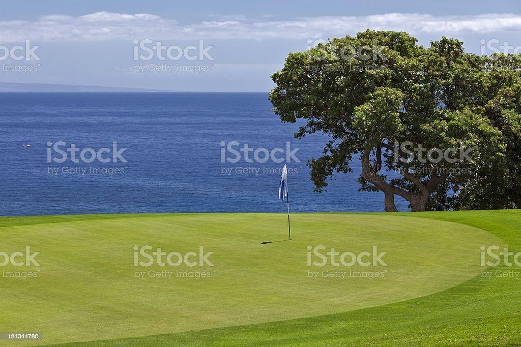 Ocean Golf Course Landscape Lanai Hawaii stock photo
