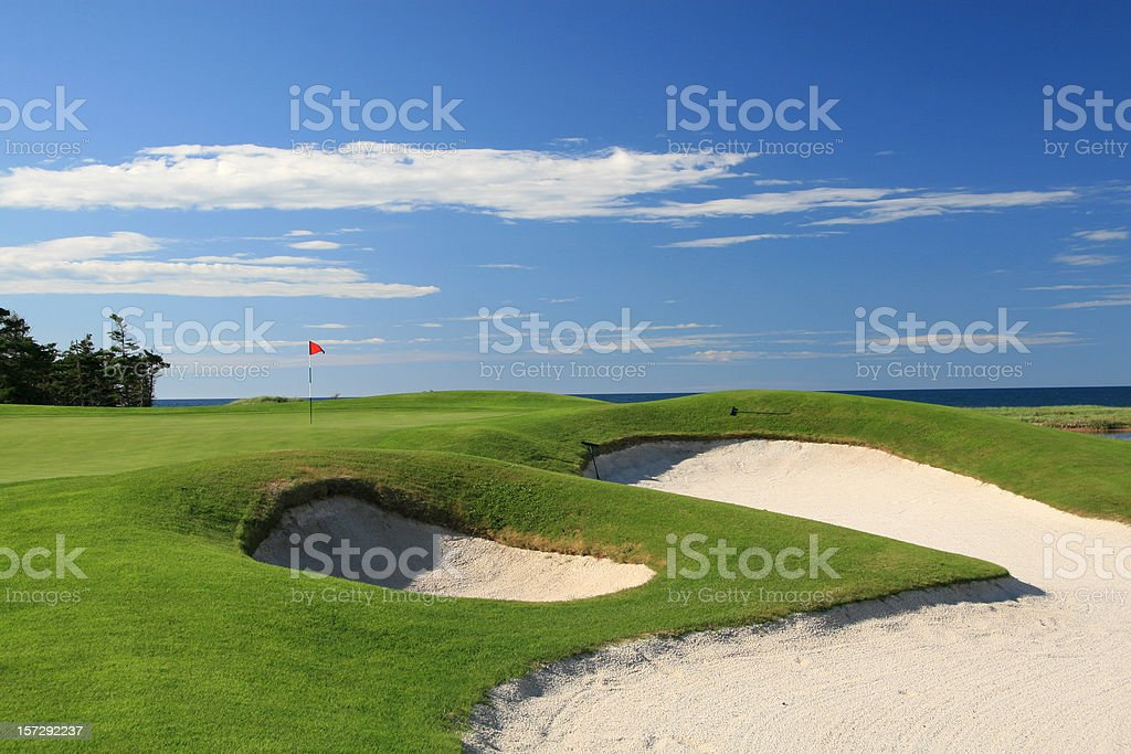Ocean Golf Course Scenic With Beautiful Bunkers stock photo